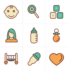 Icons style baby icons set design vector