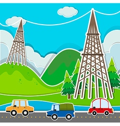Scene with cars and power line vector