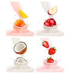 Banners with delicious fruit landing in a milk vector