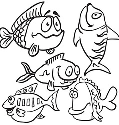 Black and white fish set vector