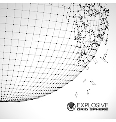 Exploded grid ball made of connected dots vector