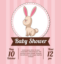 Baby shower card invitation save date - rabbit vector