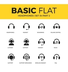 Basic set of headphones icons vector image vector image