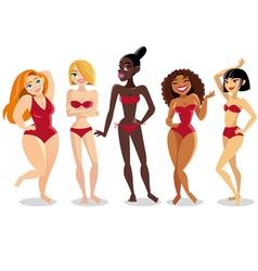 Beautiful young women in bikini vector