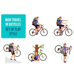 Bicycle travel A man traveling by bicycle vector image vector image