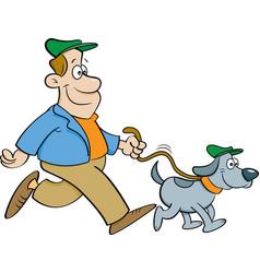 Cartoon man walking a dog vector