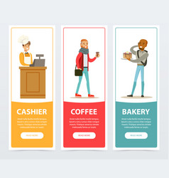 cashier coffee bakery banners for advertising vector image vector image