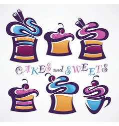 collection of funny colored sweets and cake vector image vector image