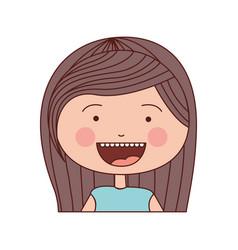 color silhouette smile expression cartoon half vector image vector image