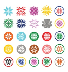 Colorful pixelated snowflakes christmas icons vector