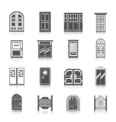 Door icons set vector