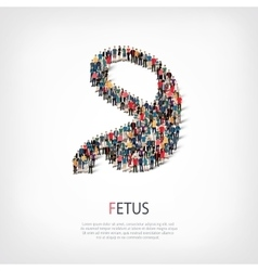 Fetus people 3d vector