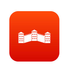 great wall of china icon digital red vector image