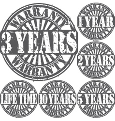 Grunge warranty rubber stamp set vector