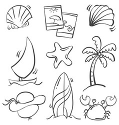 hand draw of object summer holiday vector image vector image