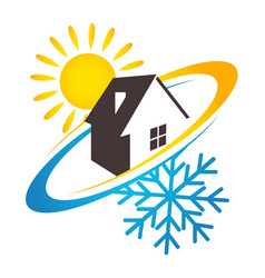 House sun and snowflake design for business vector
