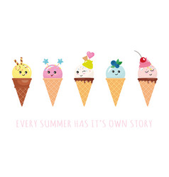 Kawaii ice cream cone characters cute cartoons vector