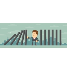 Man stopping the domino effect with falling vector