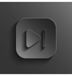 Media player icon - black app button vector image