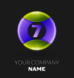 number seven logo symbol on colorful circle vector image