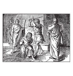 Paul is beheaded at rome by the order of emperor vector
