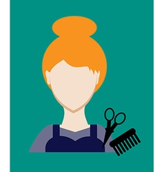 Profession people hairdresser face female uniform vector