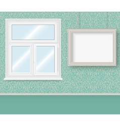 Realistic white plastic window and frame vector