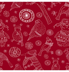 seamless background with birds and snow vector image vector image