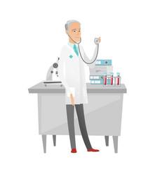 Senior caucasian doctor holding a stethoscope vector