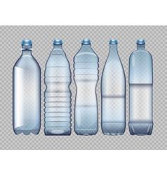 Set of blue transparent plastic bottle vector