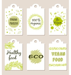 Set of green vegetarian food badges vector image vector image