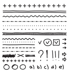 Set of hand drawing elements for edit and select vector