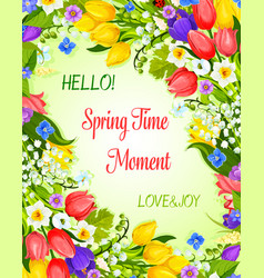 Spring greeting card with flowers bunch vector