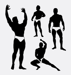 strong and healthy man sport silhouette vector image vector image