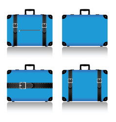 Travel suitcase set in blue vector