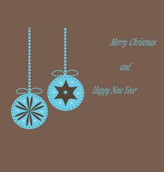 vintage christmas card with hanging christmas ball vector image