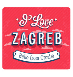 vintage greeting card from zagreb vector image vector image