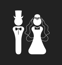 White silhouette bride and groom wedding icons vector