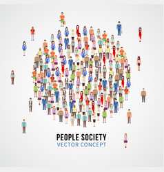 large people crowd in circle shape society vector image