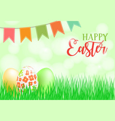 happy easter card banner flyer invitation vector image