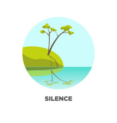 Tree at lake landscape icon for travel vector