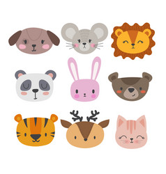 Set of cute hand drawn smiling animals cat vector