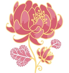 Golden and pink flower design element vector