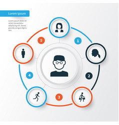 People icons set collection of running scientist vector