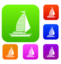 Yacht with sails set collection vector