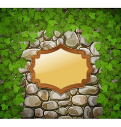 Stone wall with shield and leaves vector
