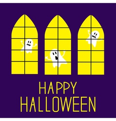 Windows with ghosts happy halloween card vector