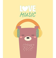 Bear love music vector