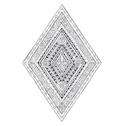Original drawing ethnic tribal doddle rhombus 4 vector