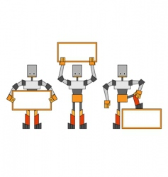 robots with placard vector image